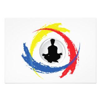 Emblema tricolor de la yoga invitaciones personalizada
