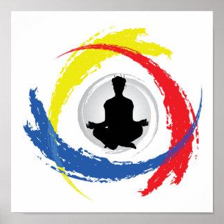 Emblema tricolor de la yoga posters