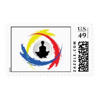 Emblema tricolor de la yoga franqueo