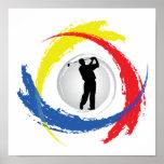 Emblema tricolor del golf impresiones