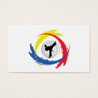 Emblema tricolor del karate tarjetas de visita