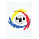 Emblema tricolor del levantamiento de pesas invitación 12,7 x 17,8 cm
