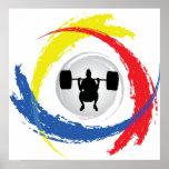 Emblema tricolor del levantamiento de pesas impresiones