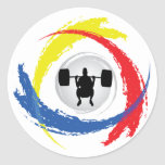 Emblema tricolor del levantamiento de pesas etiqueta redonda