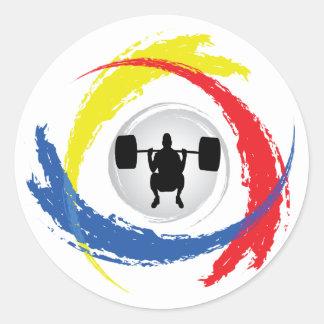 Emblema tricolor del levantamiento de pesas pegatina redonda