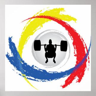 Emblema tricolor del levantamiento de pesas póster