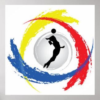 Emblema tricolor del voleibol (femenino) póster