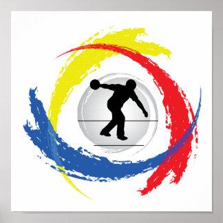 Emblema tricolor que rueda póster