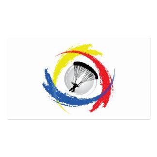Emblema tricolor que se lanza en paracaídas tarjetas de visita