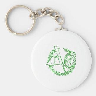 Emblema verde del béisbol llaveros