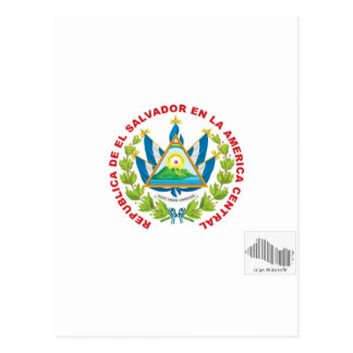 emblema y código de barras de El Salvador Postales