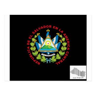 emblema y código de barras del salvadior del EL Tarjeta Postal