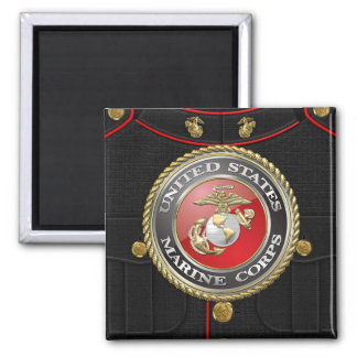 Emblema y uniforme [3D] del USMC Imán Cuadrado