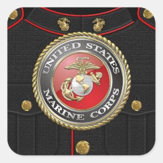 Emblema y uniforme [3D] del USMC Pegatina Cuadradas