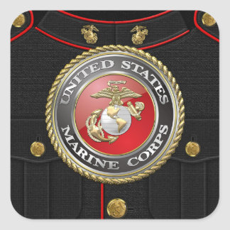 Emblema y uniforme [3D] del USMC Pegatina Cuadrada