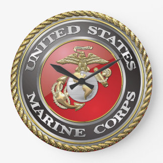 Emblema y uniforme [3D] del USMC Reloj Redondo Grande