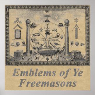 Emblemas masónicos póster