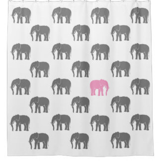 pink grey shower curtain. Emblematic Pink Elephant Among Grey Ones on White Shower Curtain And Curtains  Zazzle