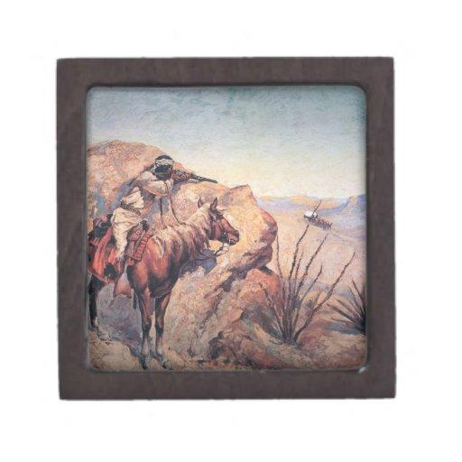 Emboscada de Apache (aceite en lona) Cajas De Regalo De Calidad