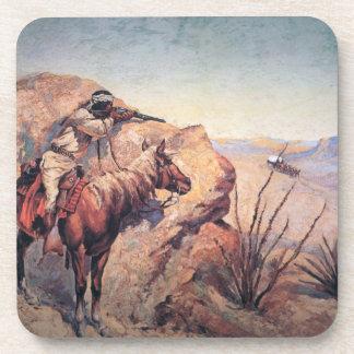 Emboscada de Apache (aceite en lona) Posavasos De Bebidas