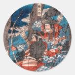 Emboscada del samurai etiqueta redonda