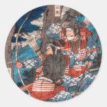Emboscada del samurai pegatina redonda