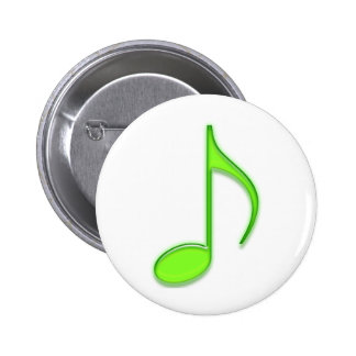 Emboss Green Music 8th Musical Note Pinback Button