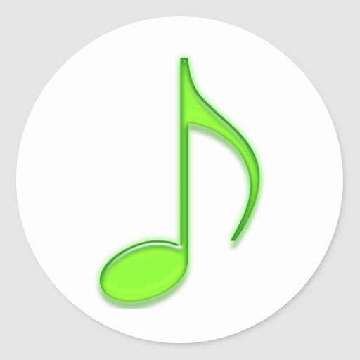Emboss Lime Green Music 8th Note Round Stickers