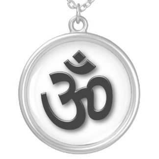 Embossed 3D Om Sign Round Pendant Necklace