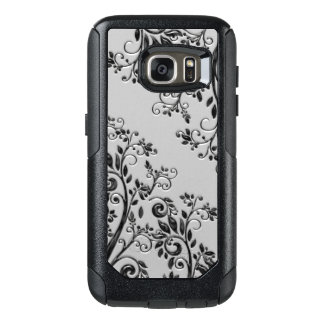 Embossed Black Glossy Style Floral OtterBox Samsung Galaxy S7 Case