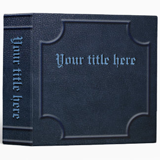 Embossed Blue Faux Leather Book 3 Ring Binder