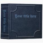 Embossed Blue Faux Leather Book Vinyl Binder