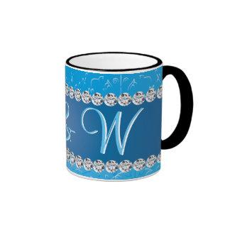 Embossed Blue Flower Anniversary Monograms Ringer Mug