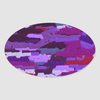 EMBOSSED CHALK SHADES OF PURPLE AND RED OVAL STICKER