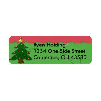 Embossed Christmas Tree Return Address Labels, ...
