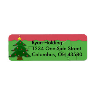 Embossed Christmas Tree Return Address Labels, ... Label