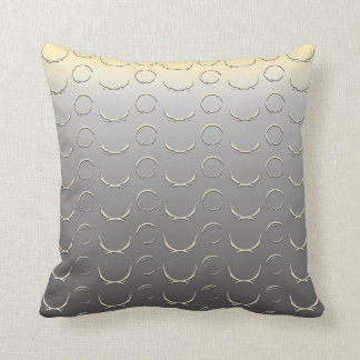Embossed Circles Art Deco Silver Saffron Yellow Throw Pillow
