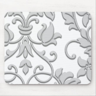 Embossed Damask, Gray Mouse Pad