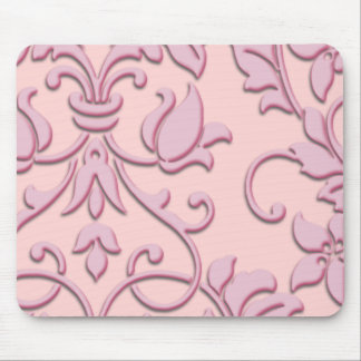 Embossed Damask, Pink Mouse Pads