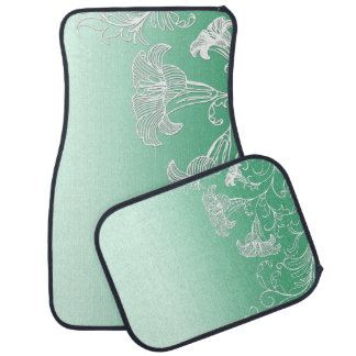 Embossed Day Lilies on Lime Sherbet Background Car Mat