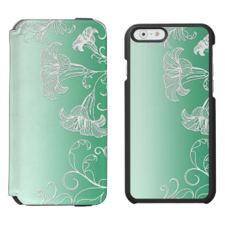 Embossed Day Lilies on Lime Sherbet Background iPhone 6/6s Wallet Case