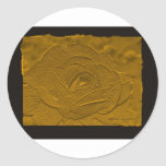 Embossed Deep Gold Rose Round Sticker