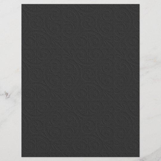 Embossed Design Plain Black Scrapbook Paper Zazzle