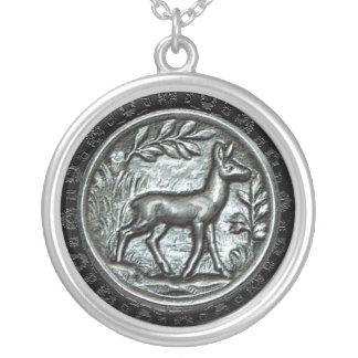 Embossed Doe Round Pendant Necklace