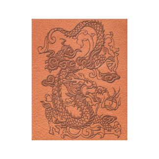 Embossed Dragon on apricot orange leather texture Canvas Print