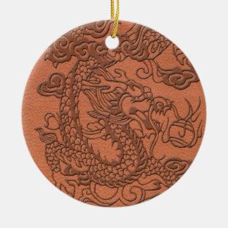 Embossed Dragon on apricot orange leather texture Ceramic Ornament