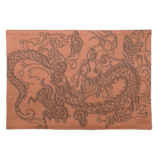 Embossed Dragon on apricot orange leather texture Cloth Placemat