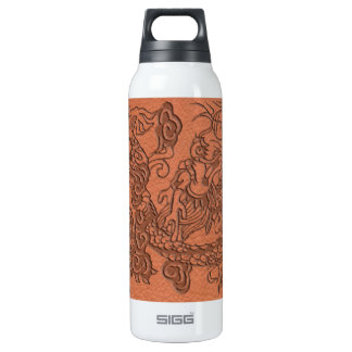 Embossed Dragon on apricot orange leather texture Insulated Water Bottle