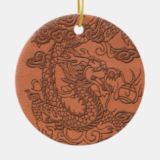 Embossed Dragon on apricot orange leather texture Christmas Ornaments