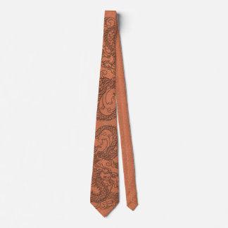 Embossed Dragon on apricot orange leather texture Tie